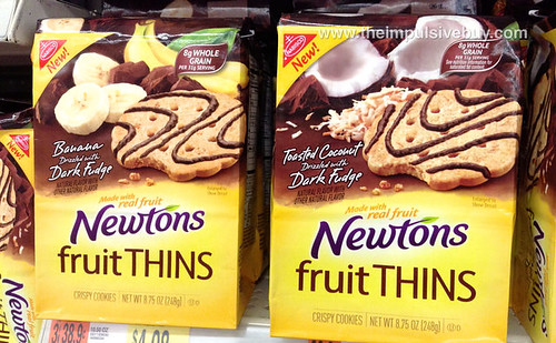 Newtons Fruit Thins Banana Dark Fudge and Toasted Coconut Dark Fudge
