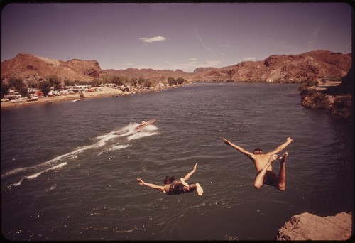 "Diving into the Colorado River at ""Parker Strip,"" a favorite swimming spot of southern Californians and Arizonians, April 1973"