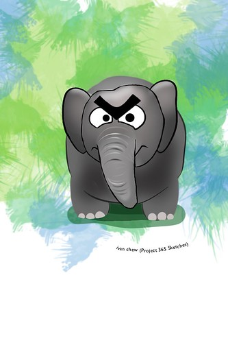 """Angry Elephant"" (#145: Project 365 Sketches)"
