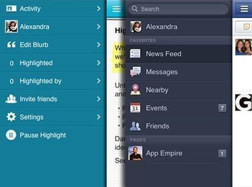 Highlight menu vs. Facebook menu