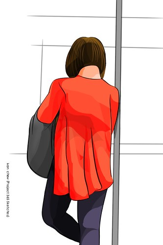 """Red Riding Cardigan"" (#186: Project 365 Sketches)"