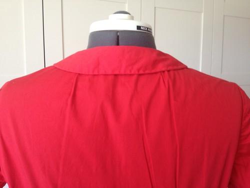 red poplin Simplicity 6894 back 2