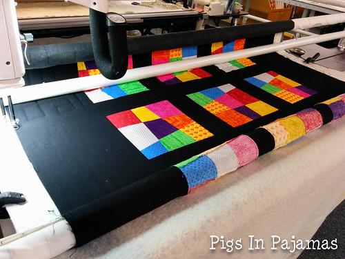 Longarm quilting crazy 9 patch quilt