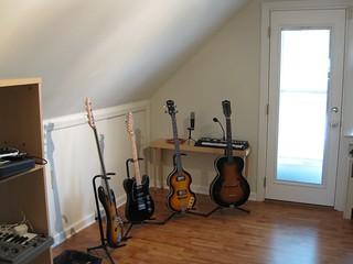 Guitar row in the studio