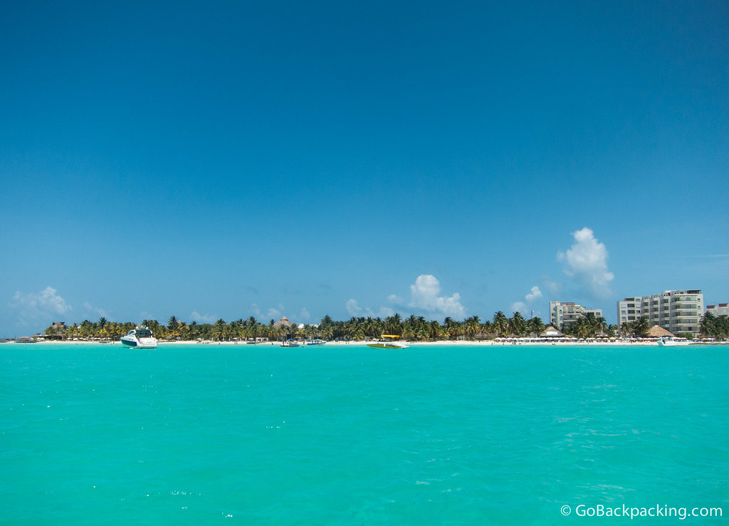 The turquoise waters of Isla de Mujeres, off the coast of Cancun