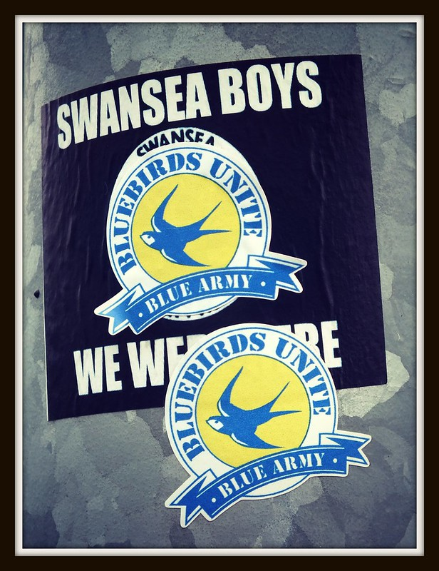 Bluebirds Unite stickers at Cardiff City Stadium