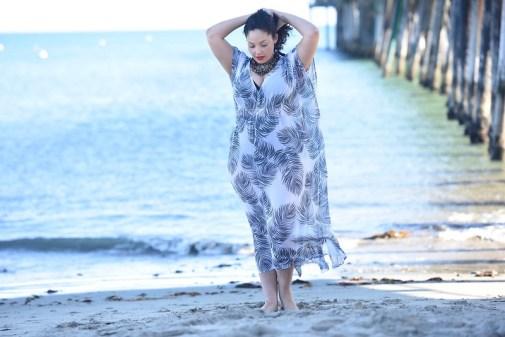 Print Kaftan Beach Cover-up, plus size Swimwear