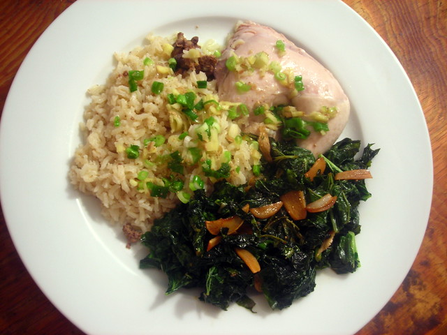 Chinese white-cut chicken, scallion-ginger sauce; stir-fried turnip tops with garlic; rice with chicken liver and shallots