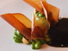 detail: Dried scallops and beech nuts, Biodynamic grains and watercress