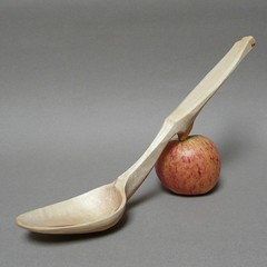 carved cherry serving spoon