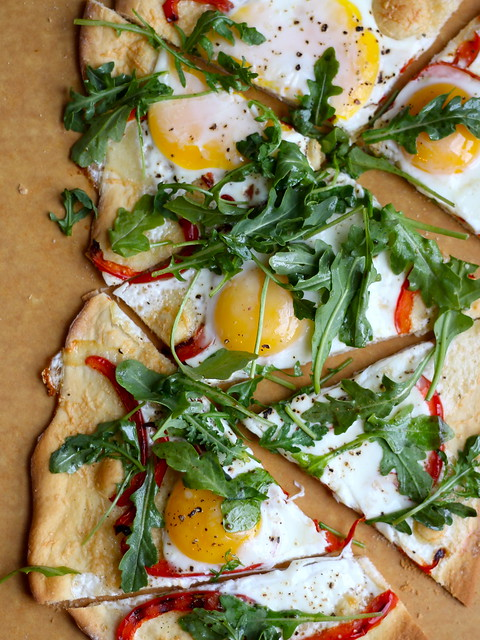 Flatbread with egg, parmesan, and arugula