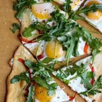 Flatbread with Egg, Parmesan, and Arugula