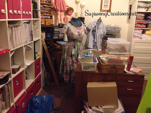 sewing room mess from door view