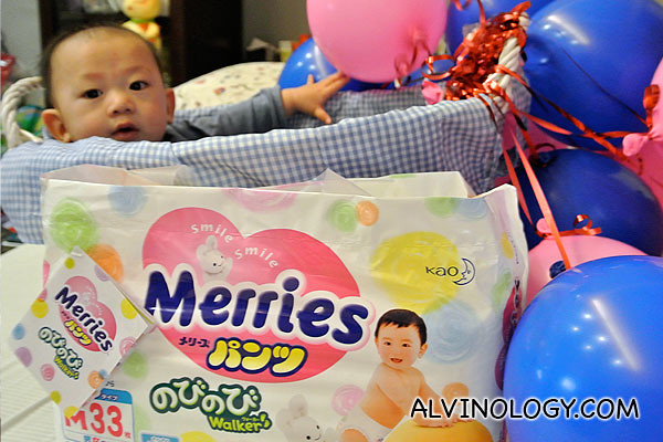 Asher trying out the new Merries diaper