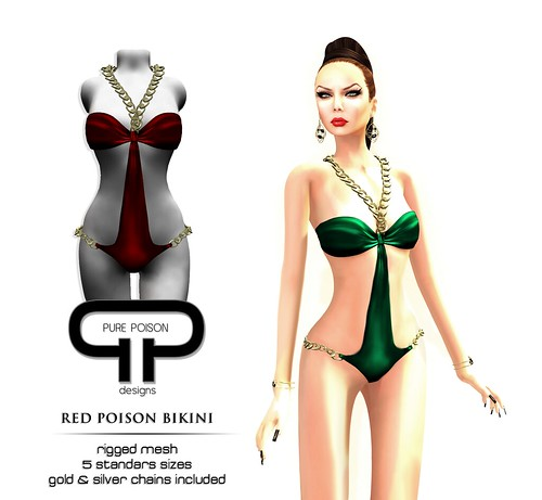 Red Poison Bikini - Rigged Mesh
