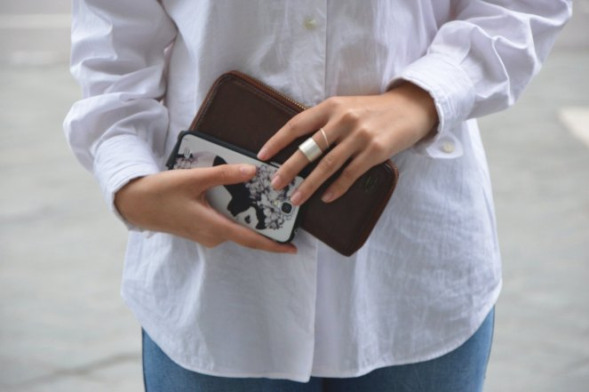 fossil brown zip leather wallet, samsung s4, silver stacked rings