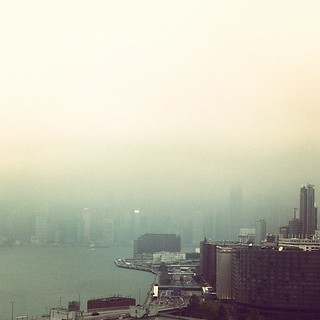 Hong Kong Island is in the fog somewhere