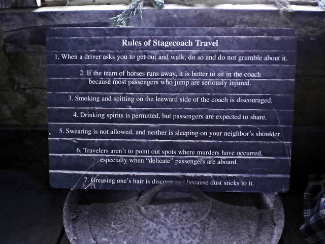 List of rules for riding the stagecoach such as don't point out sites of murders along the trip