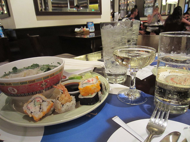 Matt's lunch: sushi, pho, and $4 all-you-can-drink champagne
