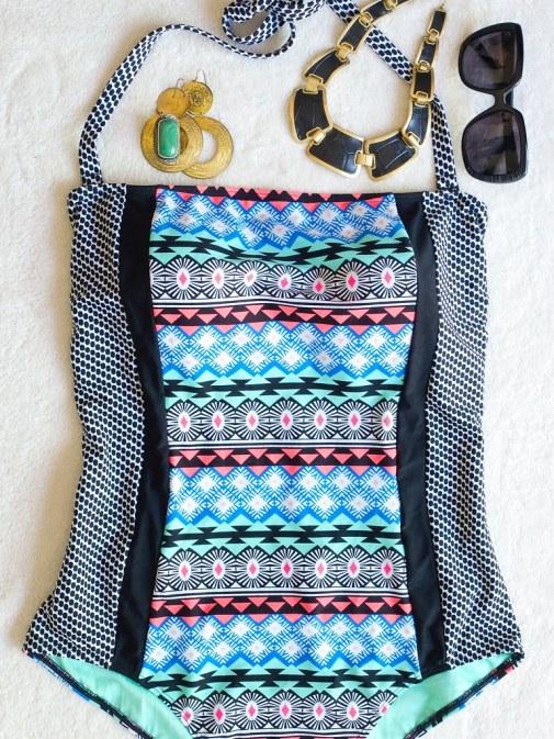 Tribal print one piece swimsuit, plus size bathing suit, swimwear