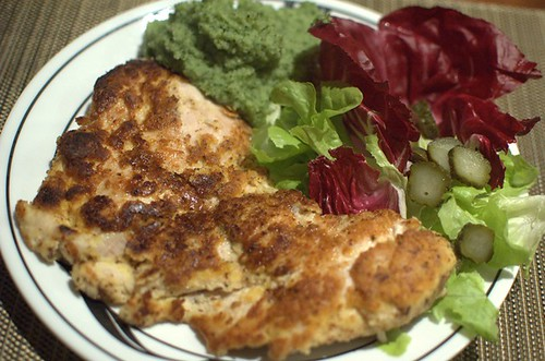 Gluten-free chicken schnitzel and spinach mash