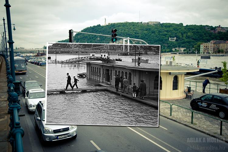Budapest, V. Pesti alsó rakpart, Vigadó téri hajóállomás árvíz idején fortepan_31503
