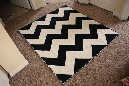 Black and White Chevron Quilt
