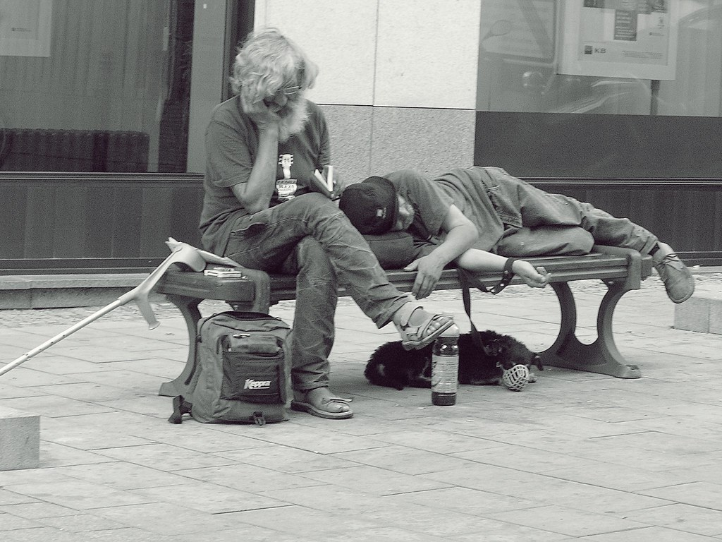 Street Persons, Dog and Book