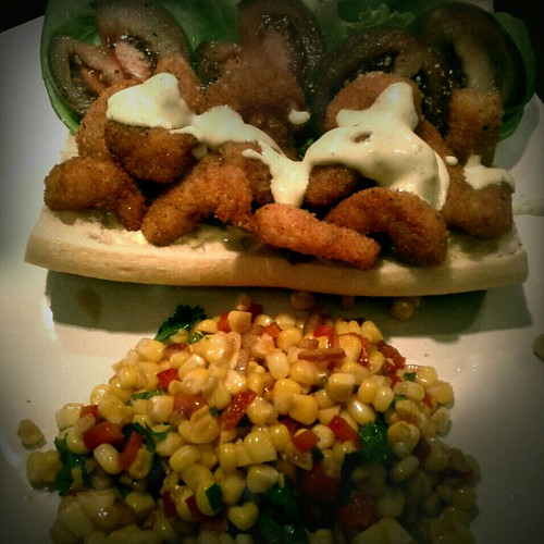 Shrimp po' boy and corn salsa