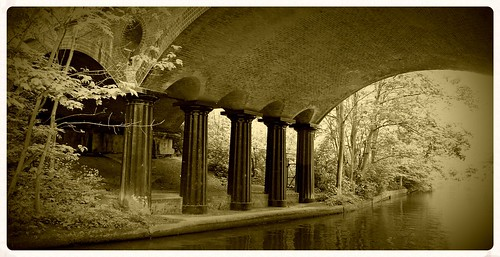 blow up bridge,Regents canal. sepia