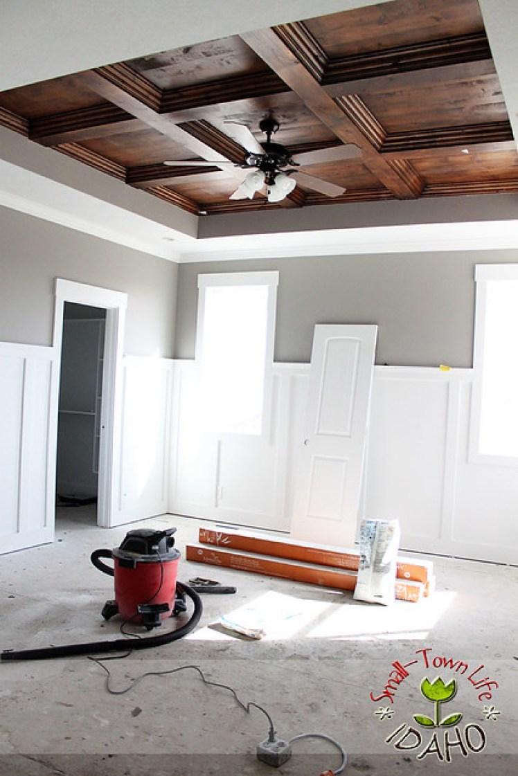 Master Bedroom Wood Panel Ceiling