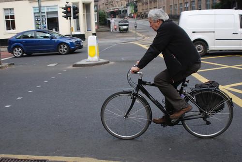 Silver cyclist