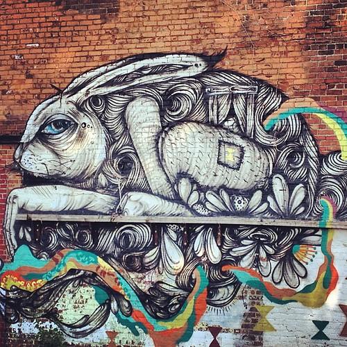 Creepy #westport rabbit. #kcgraffiti