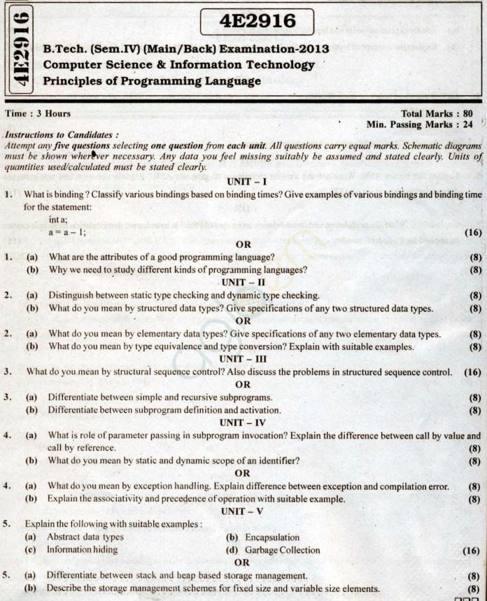 RTU: Question Papers 2013 - 4 Semester - CS & IT - 4E2916