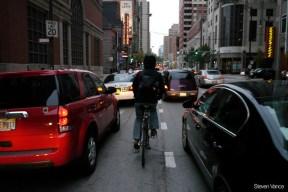 Bicycling on the Dearborn Street bike lane