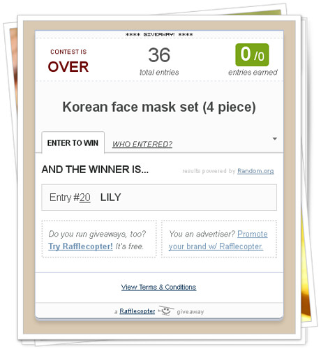 Korean Face Mask winner_lily