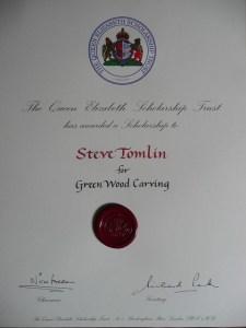 Steve Tomlin greenwood carving award