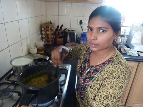 Renuka making chicken