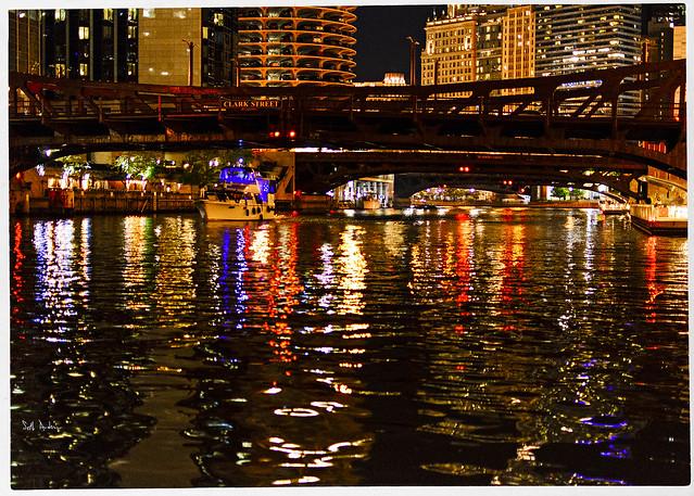 Clark Street Bridge At Night