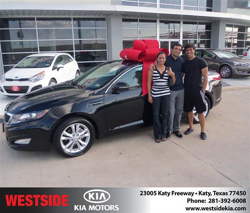 Westside Kia would like to say Congratulations to Amir Ali on the 2013 Kia Optima from Damon Clayton by Westside KIA