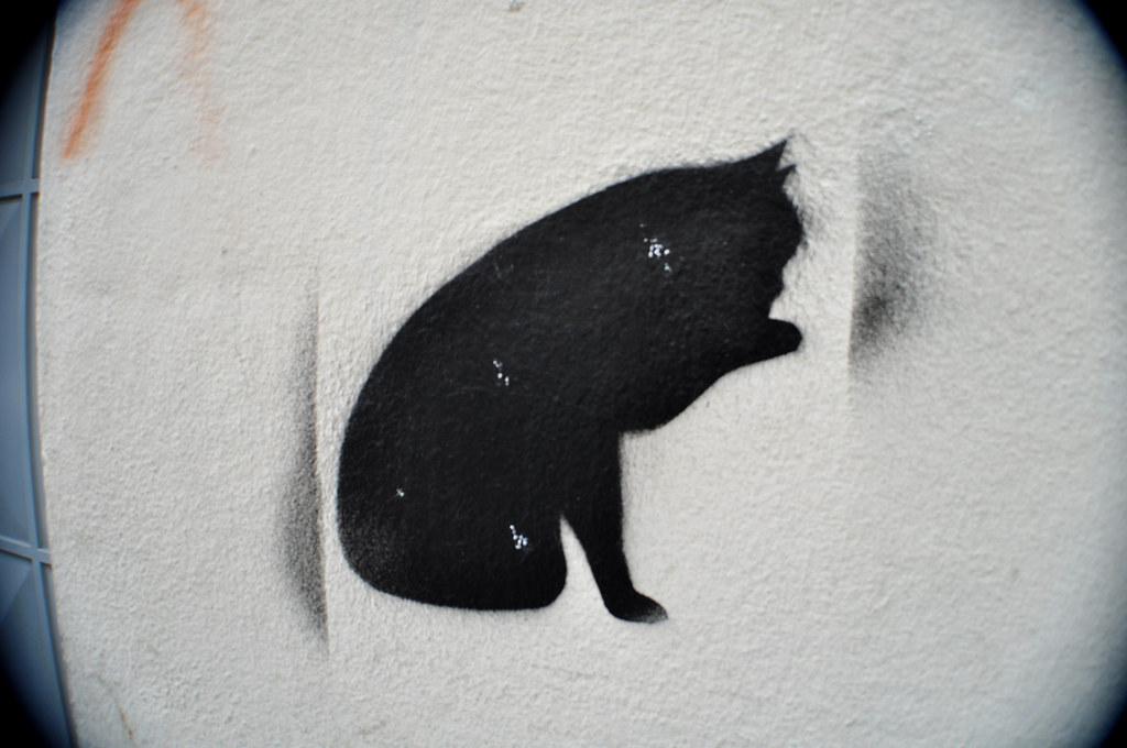 Chat noir pochoir