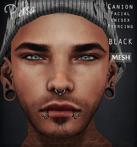 pekka canion unisex facial piercing black