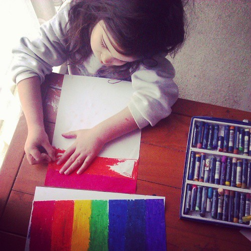 Getting ready to do some rainbow writing. #rainbowgirl #homesickwithasthma
