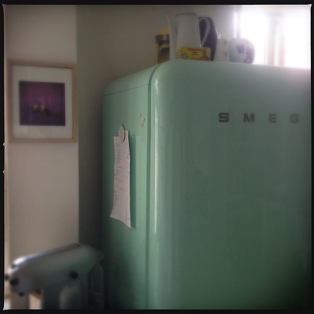 mint 50 style smeg fridge and nespresso coffe maker