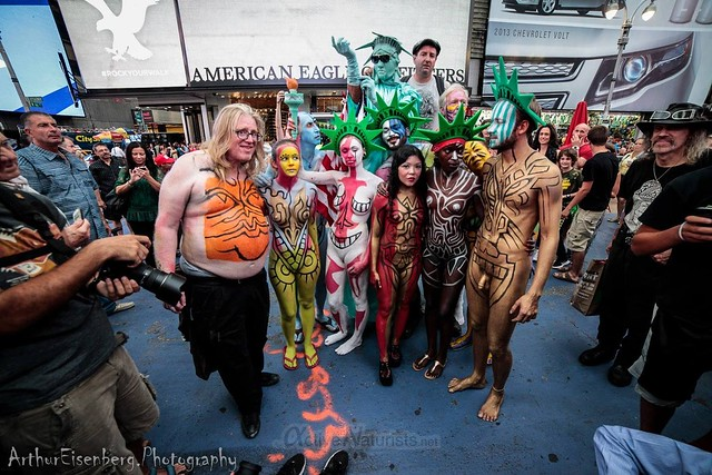 naturist 0017 body paint art, Times Square, New York, NY, USA