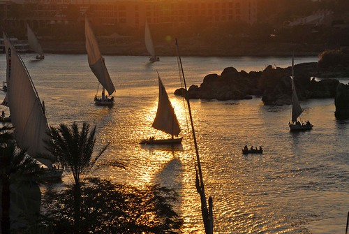 Sails & Shadows on the Nile, Aswan, Egypt.