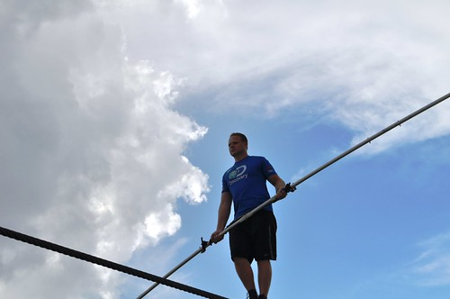 Look at the cloud formations and blue sky behind Wallenda. Sarasota, Fla., June 19, 2013