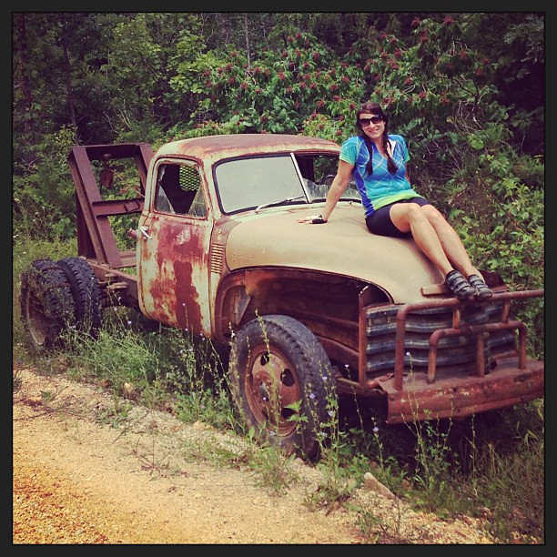 The things you find on an old #gravel road. #chevy #bike #middlefork