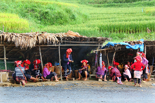 Sapa - the Red Dao ladies gathering in front of Topas Ecolodge