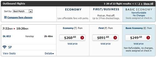 Delta Basic Economy Display